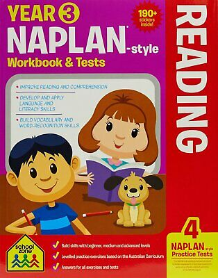 School Zone Years 3 Naplan Style Reading Workbook & Tests - Free Postage