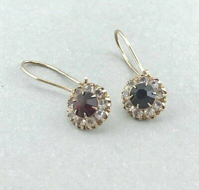 Gorgeous Vintage Solid 10k Yellow Gold Garnet and Clear Stone Dangle Earrings!