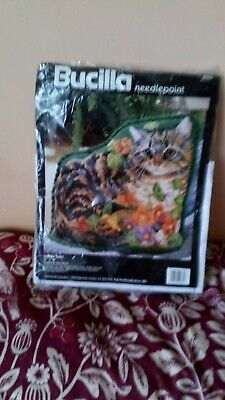 Tapestry Garden Tabby Kit by Bucilla. Pre owned but unused