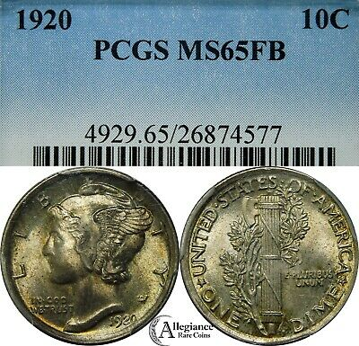 1920 10c Mercury Silver Dime PCGS MS65 FB full split bands rare old type coin