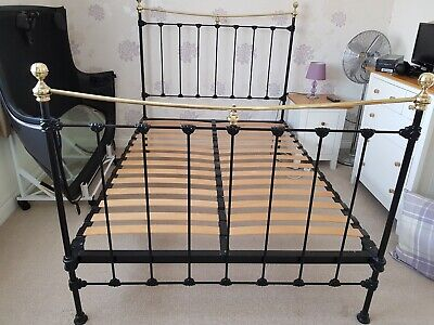 "Antique Victorian/Edwardian Cast Iron & Brass Double 4'6"" Bed"