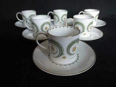 Susie Cooper Assyrian Motif C1010 Pattern 6 x Coffee Cans and Saucers