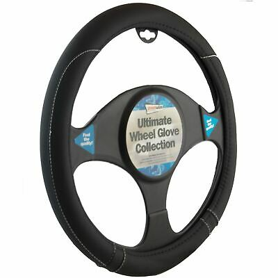 Steering Wheel Cover Black Leather Effect Universal Fitting With White Stitching