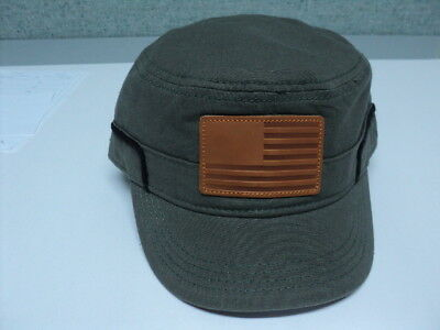 b4cf63e76 DANIEL CREMIEUX MILITARY Cap Leather Usa Flag Patch Hat Army Green M/l Nwt