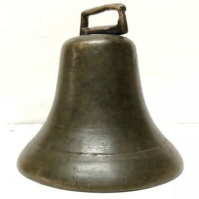 "Antique 3.75"" 1800's Cast Brass Bronze Patina Sleigh Bell Cow Metal Clapper"