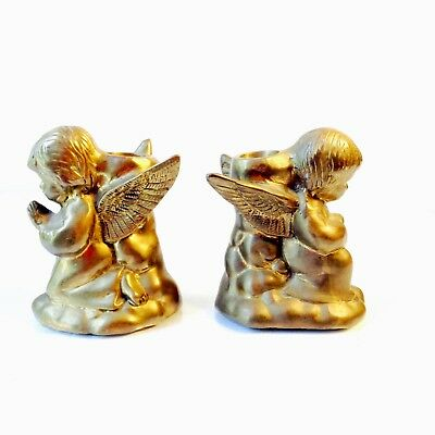 Angels Cherubs Candle Holder Pair Vintage Solid Brass Made In India EUC