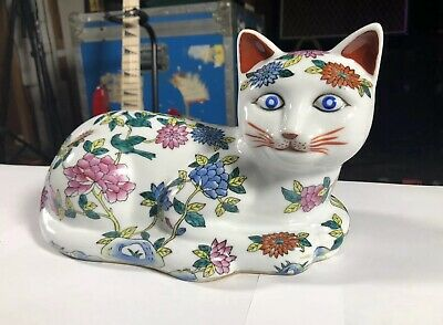 Old Rare Chinese Famille Rose Porcelain Cat Figurine White Floral Hand Painted