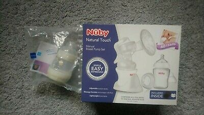 Nuby Natural Touch - Manual Breast Pump Set + MAM anti-colic 130 ml bottle