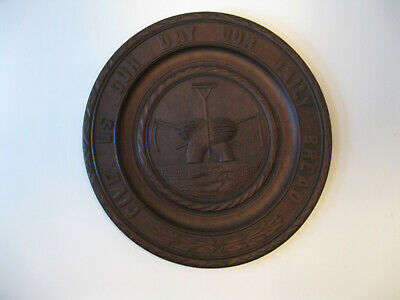 Antique Black Forest  CARVED Wood Wall Plaque Give Us This Day Our Daily Bread