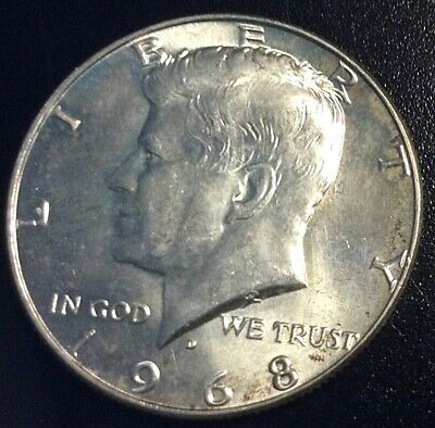 1968 D KENNEDY HALF DOLLAR 40% SILVER EXCELLENT DETAILS Beautiful