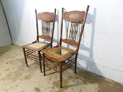 Pair c1910 Antique Larkin Carved Pressed Oak High Spindle Back Side Chairs