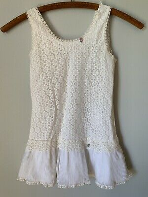 Vintage Her Majesty Girls Slip Dress Cream Lace Ruffles Size 8 Toddler