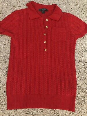 Womens / Ladies POLO RALPH LAUREN Cable Knit Jumper  - Red - Short Sleeve XS New