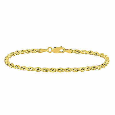 Amour 14k Yellow Gold 7.25 Inch Rope Chain Bracelet
