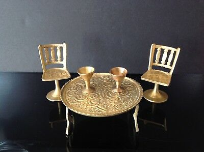 Solid Brass 5 Piece Doll House Miniature Table 4 Pedestal Chairs 4 Goblets Cups