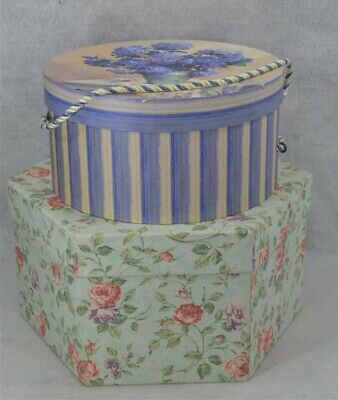 hat boxes octagonal round fabric paper cardboard 2  large very good