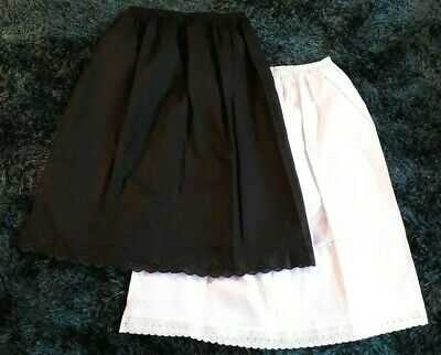 Ladies Half Slips 100% Cotton Black White Underskirt Size 6- 20 Waist Petticoat