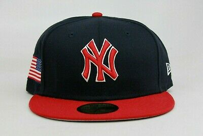 7b4b586dea7 New York Yankees Navy Red White USA Flag MLB New Era 59Fifty Fitted Hat Cap  NY