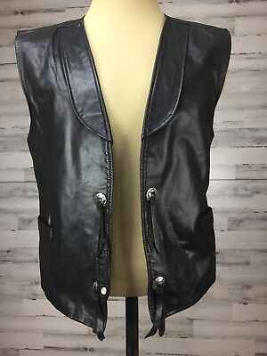 Vtg JO O Joo KAY Western Black Leather Vest Set Concho Rodeo Motorcycle