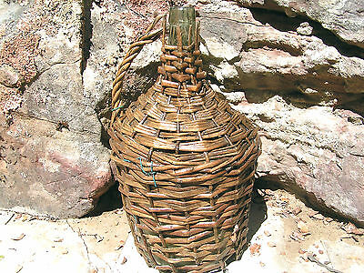 Old Wicker wrapped Italian Wine jug 0723