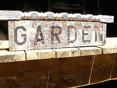 Old Garden sign made from Door panel, Stair Spindle
