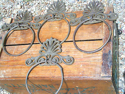 4 Cast Iron Wall Rings for towels or curtain tie backs