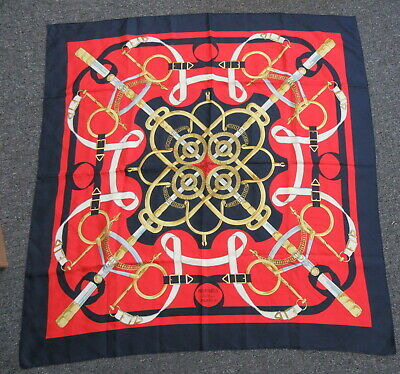 """HERMES Red and Blue """"Eperon D'or"""" Silk Scarf/Wrap"""