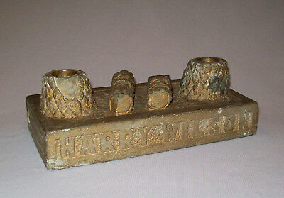 Antique Vtg Dated 1928 Folk Art Hand Carved Stone Inkwell Inkstand Signed W Real