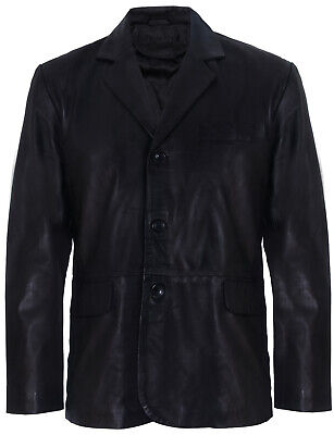 Men's Black Genuine Leather Blazer Soft Real Italian Tailore Vintage Jacket Coat