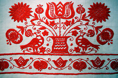 Antique Traditional Hungarian Hand Embroidered  Linen Pillow Case TOROCKO