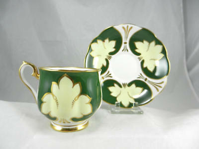 Fabulous ROYAL ALBERT England EMERALD & GOLD FLORAL TREFOIL Footed  CUP & SAUCER