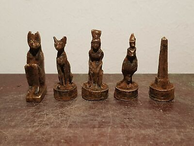 Rare Antique Ancient Egyptian 5 Bronze Statues God Anubis Bastet Isis1650-1570BC