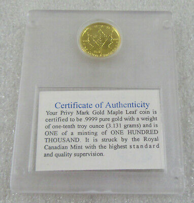 1998 Canada 1/10 Oz. .999 Gold Maple Leaf - Family of Eagles Privy Variety