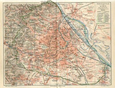 1895 AUSTRIA OVERVIEW PLAN of VIENNA CITY and OUTSKIRTS  Antique Map