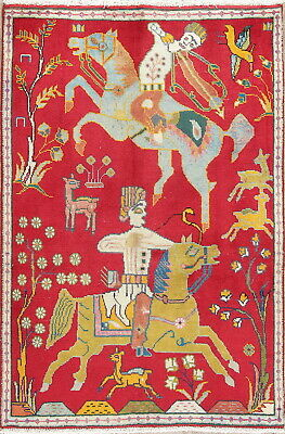 Vintage Hunting Design Pictorial Qashqai Persian Hand-Knotted Red 3'x5' Wool Rug