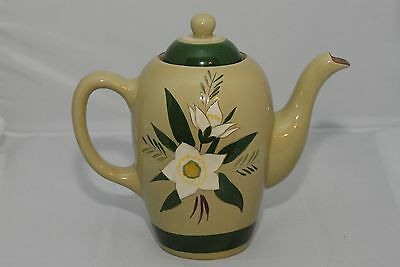 STANGL coffee pot & lid STAR FLOWER green pattern GORGEOUS MID-CENTURY POTTERY!