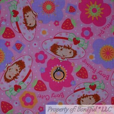 BonEful FABRIC FQ Cotton Quilt Pink Strawberry Shortcake Girl Hat Flower Garden