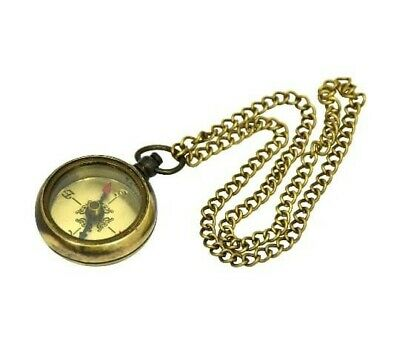 Nautical Brass Compass - Marine Compass - Pocket Antique Compass with Chain