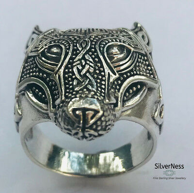 SilverNess Men's Jewellery :925 Sterling Silver Wolf Viking Ring