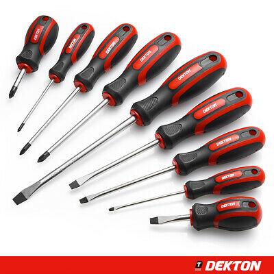 Dekton 9PC Screwdriver Tool Set Soft Grip Handle 9 PC Magnetic Phillips Slotted