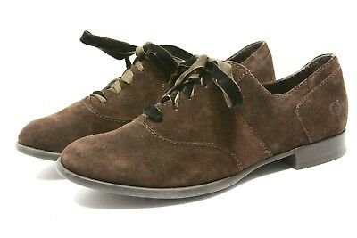 4bf88b9eddefb Born Børn EDEN oxfords Shoes Womens 7.5 Mocha Brown Suede Leather lace up  cute
