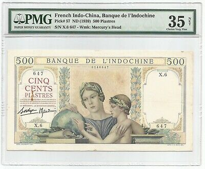French Indo China 500 Piastres ND(1939) P#57 Banknote PMG 35 NET
