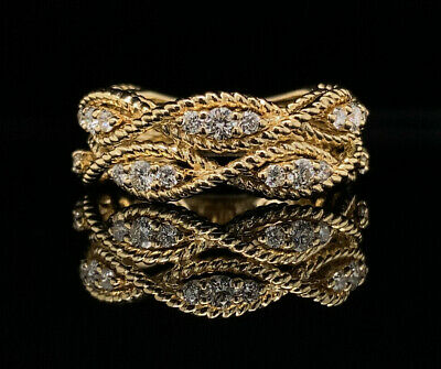 1ctw Round Diamond Multi-row Weave Pattern Band 14k Yellow Gold