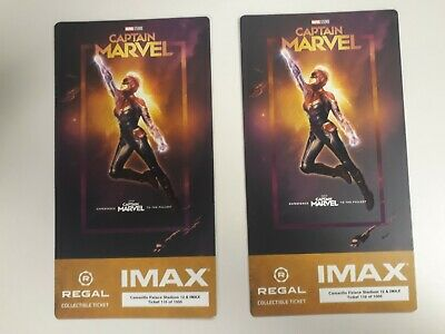 2 Captain Marvel IMAX Regal Collectible Tickets