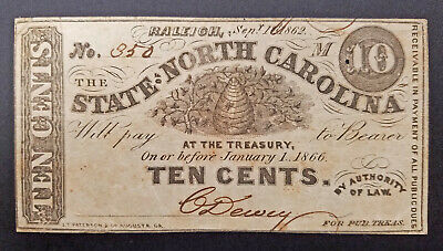 1862 Raleigh North Carolina 10 cents Bank Note Currency Confederate Civil War