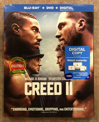 NEW Creed II (Blu-ray + DVD + Digital) New W/ Slipcover - See Details Free Ship