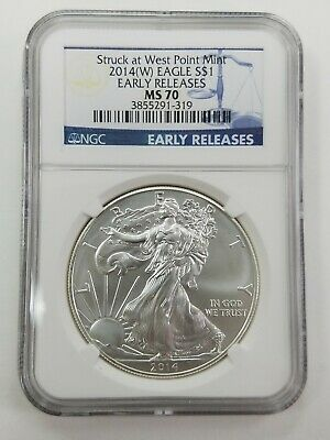 2014 American Silver Eagle -NGC MS70 -Early Releases Blue Label