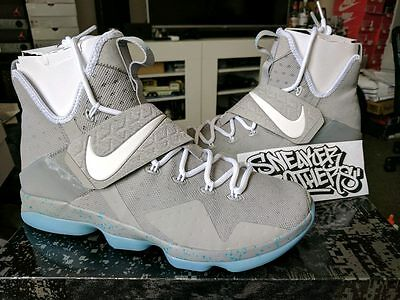 fa1671ce6c76 Nike LeBron XIV 14 Marty McFly Mag Summer Pack Matte Silver White 852405-005