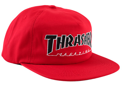 255dda08ba9 THRASHER Skateboard Magazine Outlined Logo Red   Black   White Snapback Hat