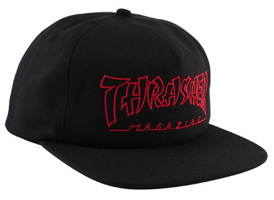 f98682fac0e THRASHER Skateboard Magazine Black   Red China Banks Logo Snapback Hat